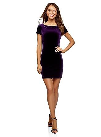 oodji Ultra Mujer Vestido de Terciopelo con Escote Barco