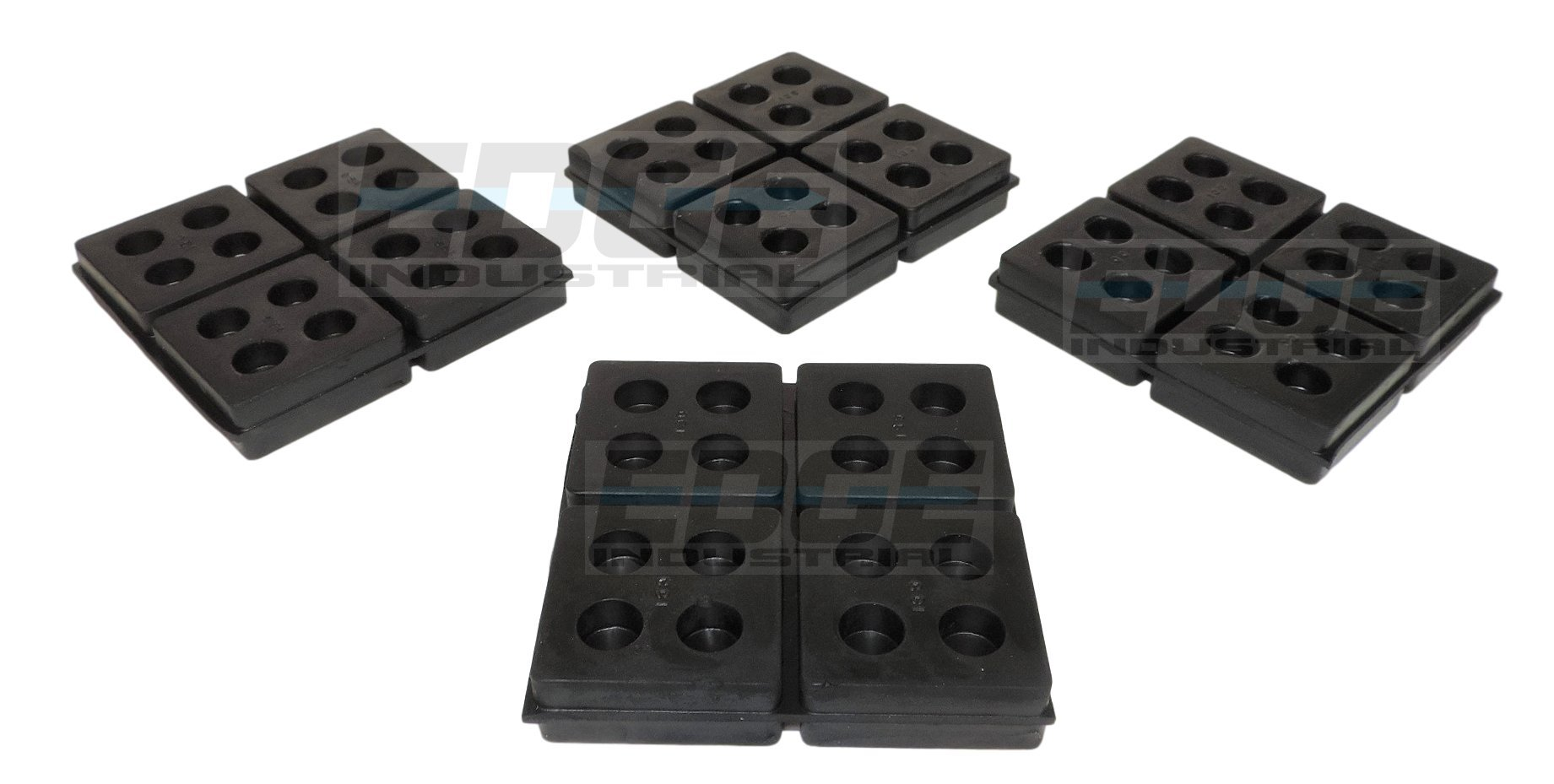 HEAVY DUTY ANTI VIBRATION ISOLATION PADS 4'' X 4'' X 3/4'' ALL RUBBER WAFFLE TYPE, QUANTITY 4