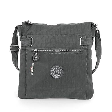 64722af4477fb 2226 Bag Street Damen sportliche Handtasche Umhängetasche Schultertasche  aus Nylon (Grau)