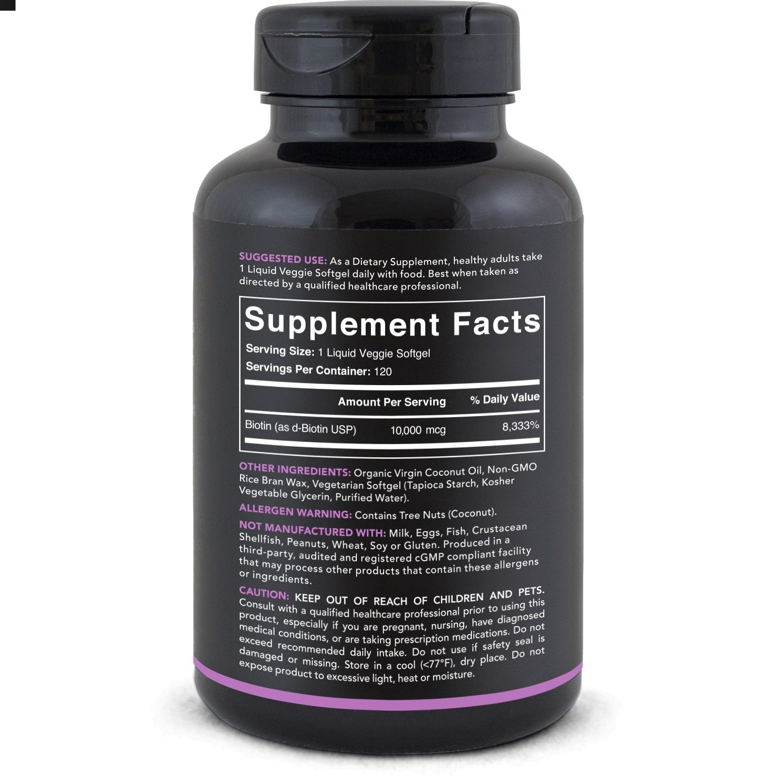 High Potency Biotin (10,000mcg) with Organic Coconut Oil; Supports Hair Growth, Glowing Skin and Strong Nails; 120 Mini-Veggie Softgels by Sports Research (Image #3)