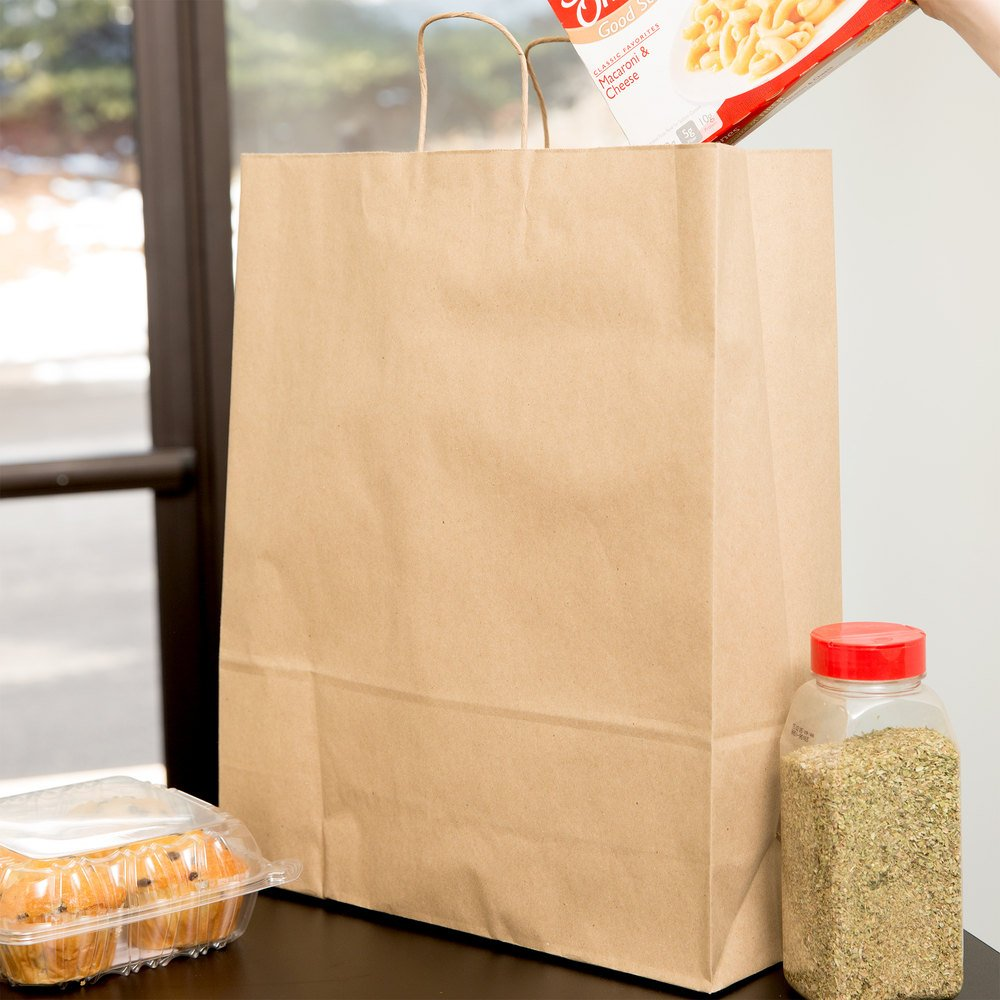 Duro Super Royal Natural Kraft Paper Shopping Bag with Handles 14'' x 10'' x 15 3/4'' - 200 / Bundle by Duro