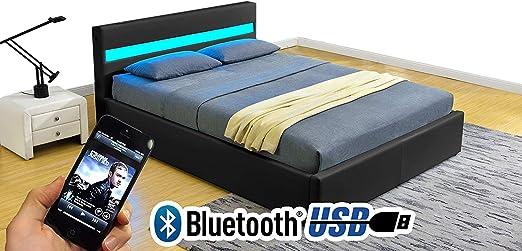 KMK Black Or Black /& White Modern Leather Bluetooth Speaker Led Light Storage Bed With Remote Black, King Size 5FT