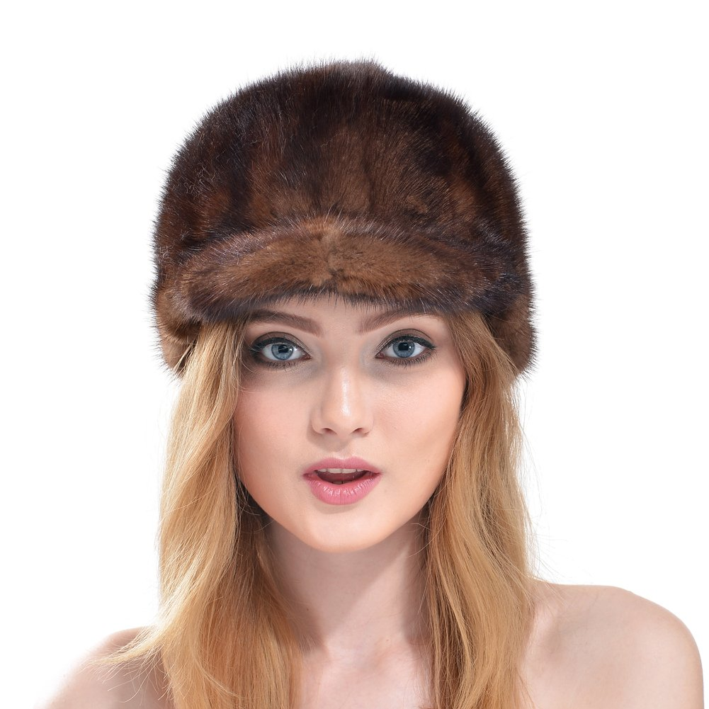 Bellefur Women's 100% Real Luxious Mink Fur Knitted Hat Cap with Brim