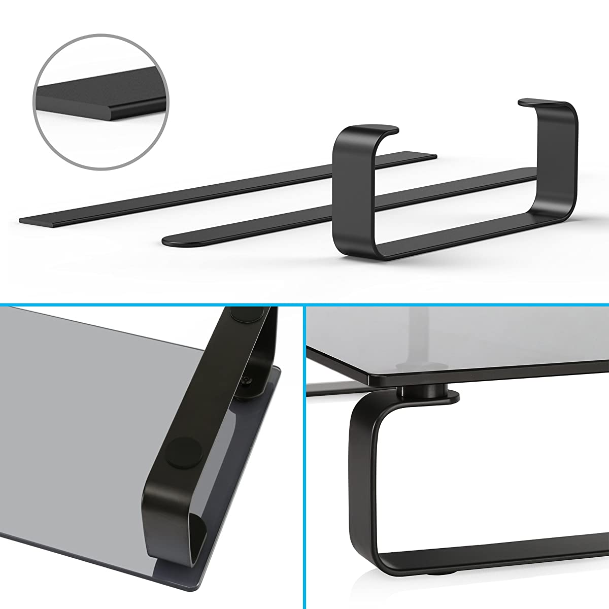 FITUEYES Tempered Glass Computer Monitor Printer Machine StandRiser TV Shelf Risers Stand 4.7 High 23.6 Save Space Desktop Stand for Xbox One/Component/Flat Screen TV-Black DT106005GB