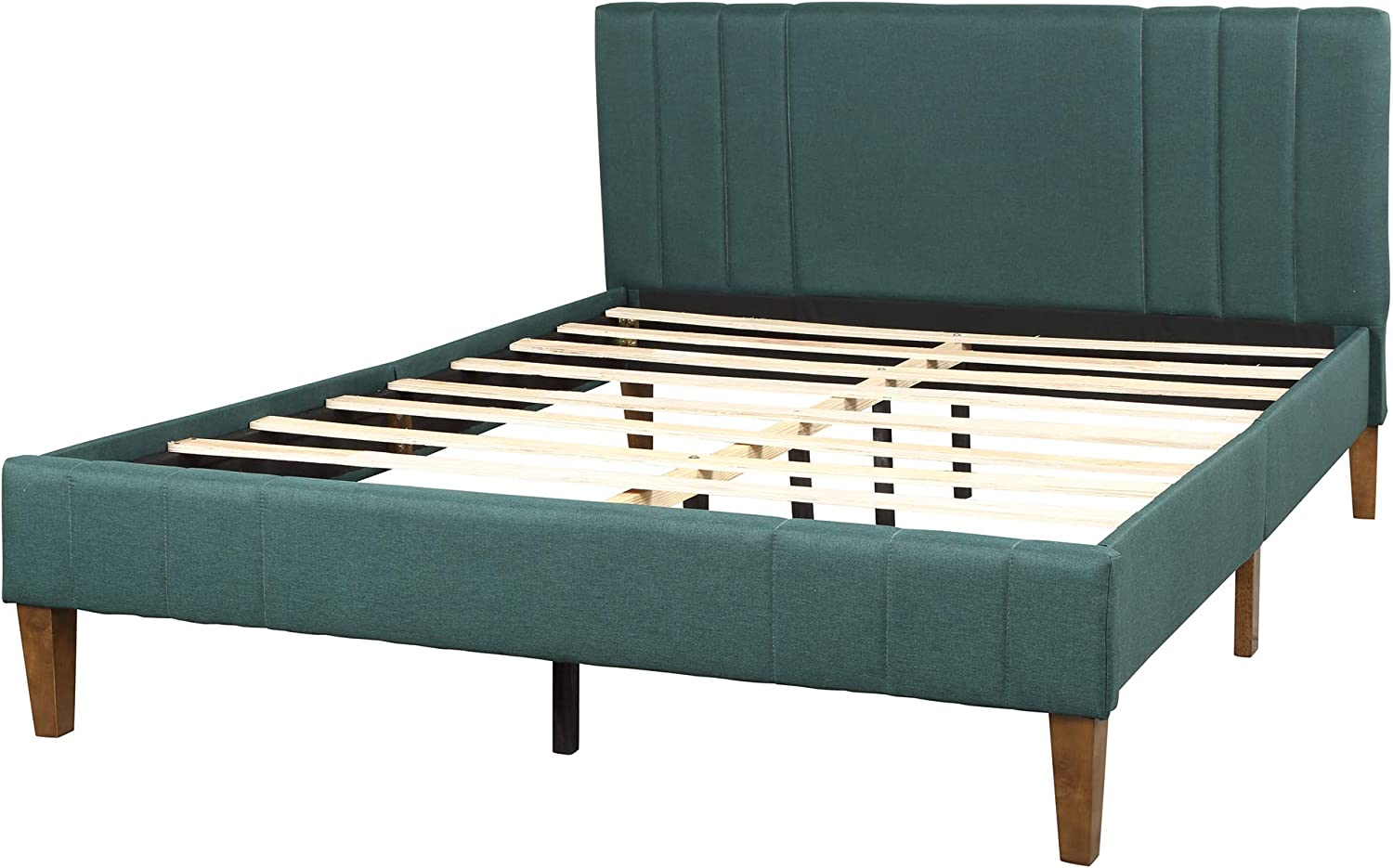 Queen Bed Frame, Merax Upholstered Platform Bed with Headboard, No Box Spring Needed, Queen Size, Green