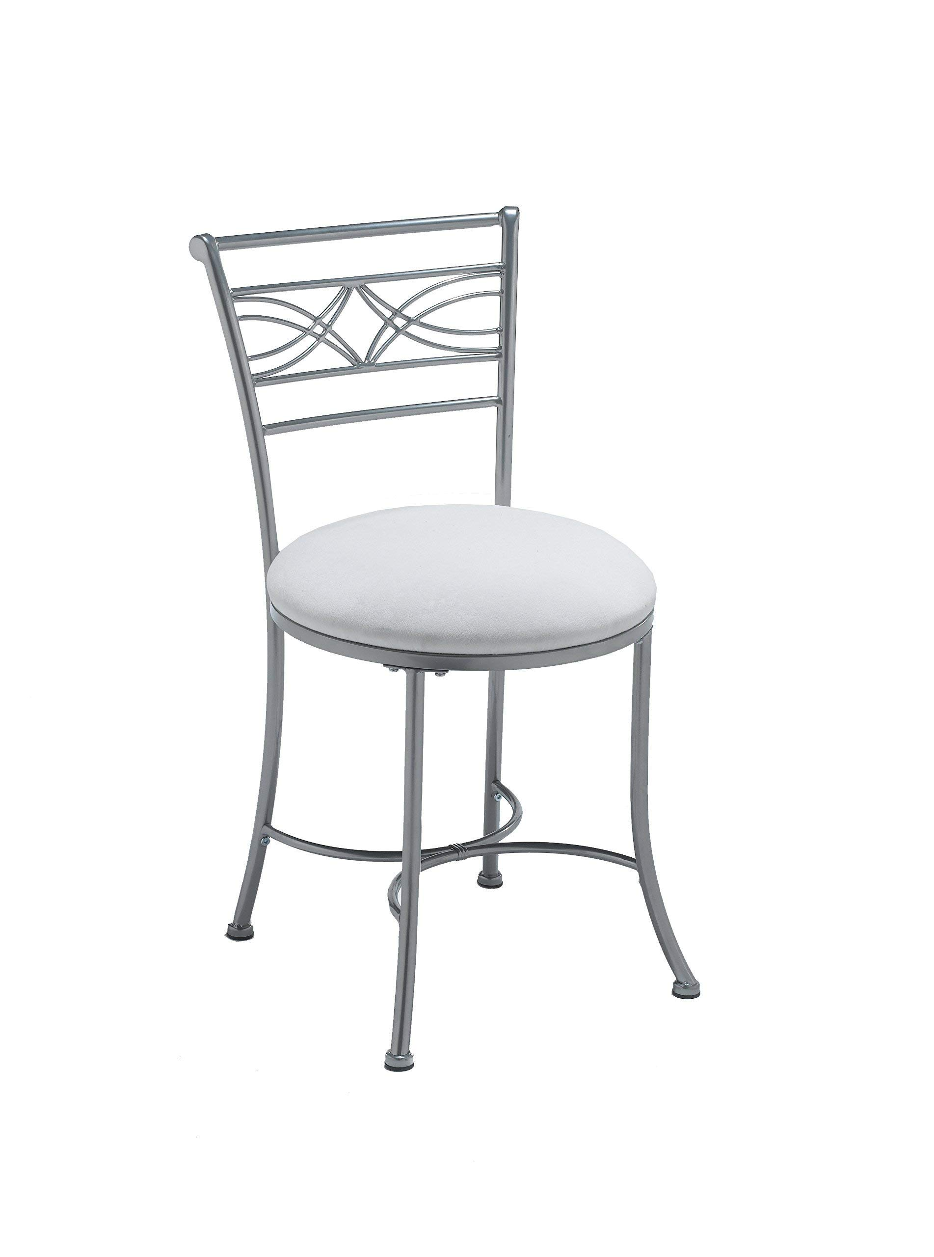 Hillsdale Furniture 50941A Dutton Vanity Stool, Chrome (Renewed) by Hillsdale Furniture