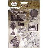 Rayher 57784000 Clear Stamp - Timbri decorativi, 1-7,3 cm, 15 pz Viaggio nel tempo Vintage
