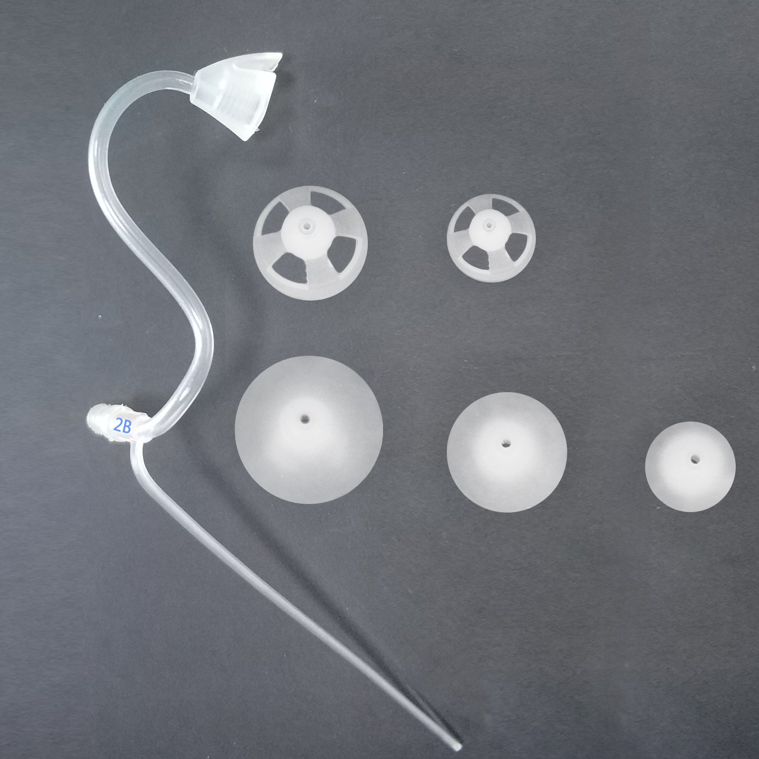 Banglijian Hearing Amplifier Replacement Slim Sound Tubes and Domes for Ziv-201A and Ziv-201 (2 Tubes-Size 2B and 10 Domes, Left)