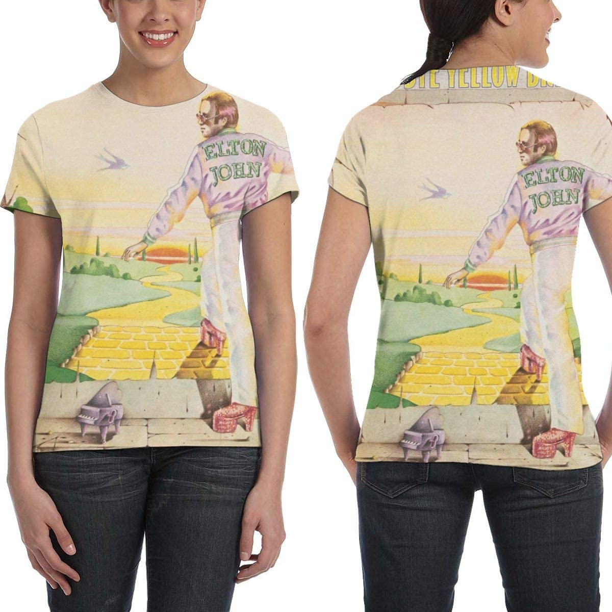 NancyA Womens Elton John Goodbye Yellow Brick Road Design 3D Printed Short Sleeve T-Shirt Black