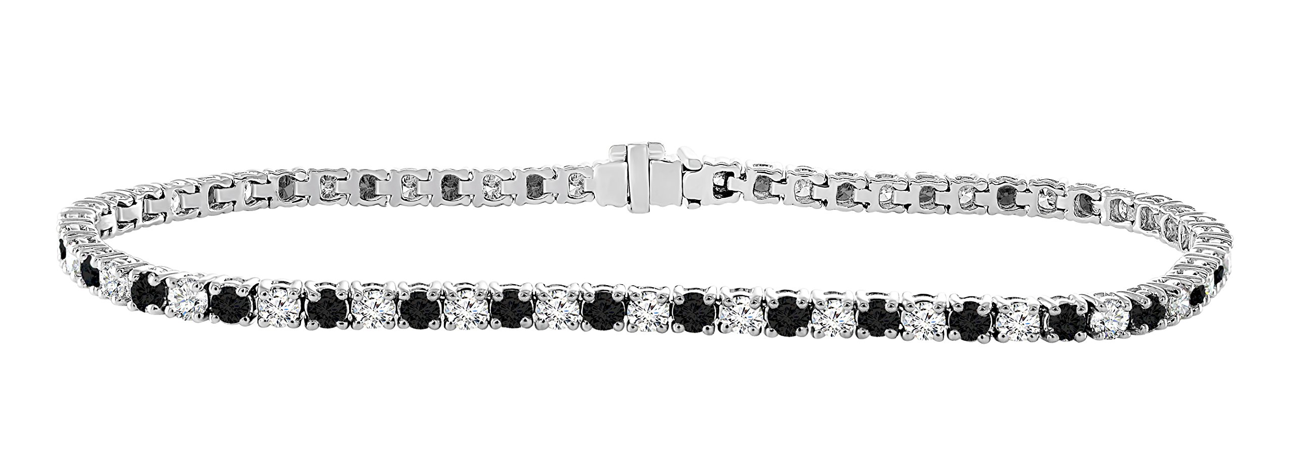 14K White Gold 3.00 Carat (ctw) Real Natural Black & White Diamond Tennis Bracelet For Women 7 Inches