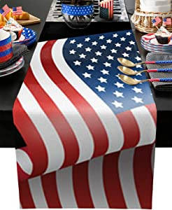 LALADecor Rectangle Table Runner for Table Decorations American Trump Presidential Campaign Table Runner for Event Party Holiday Wedding Birthday Baby Shower 13x90 Inch
