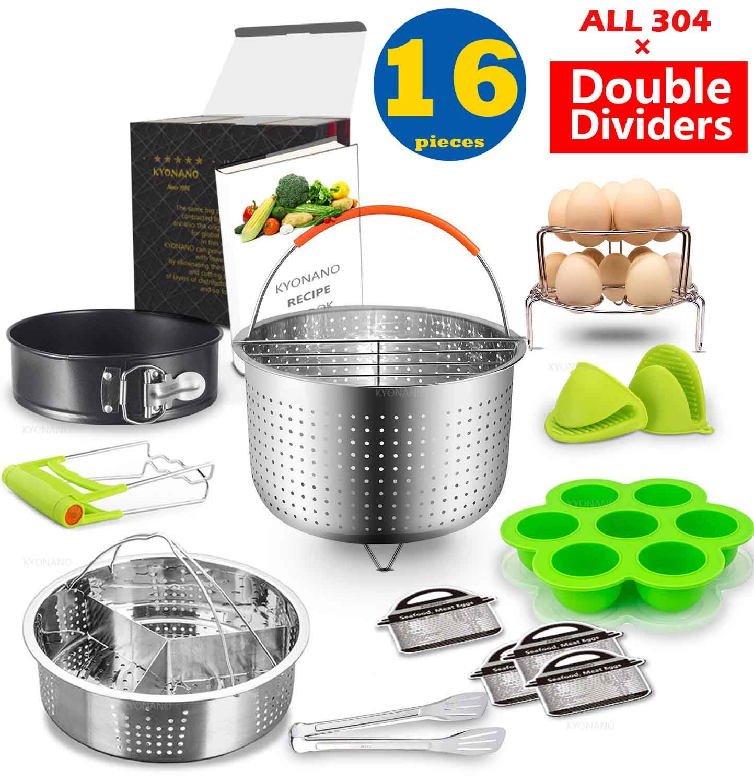 Instant Pot Accessories Set Compatible with Instant Pot 6,8 Qt 16 Pcs - Steamer Basket, Exclusive divider, Springform Pan, Silicone Egg Bites