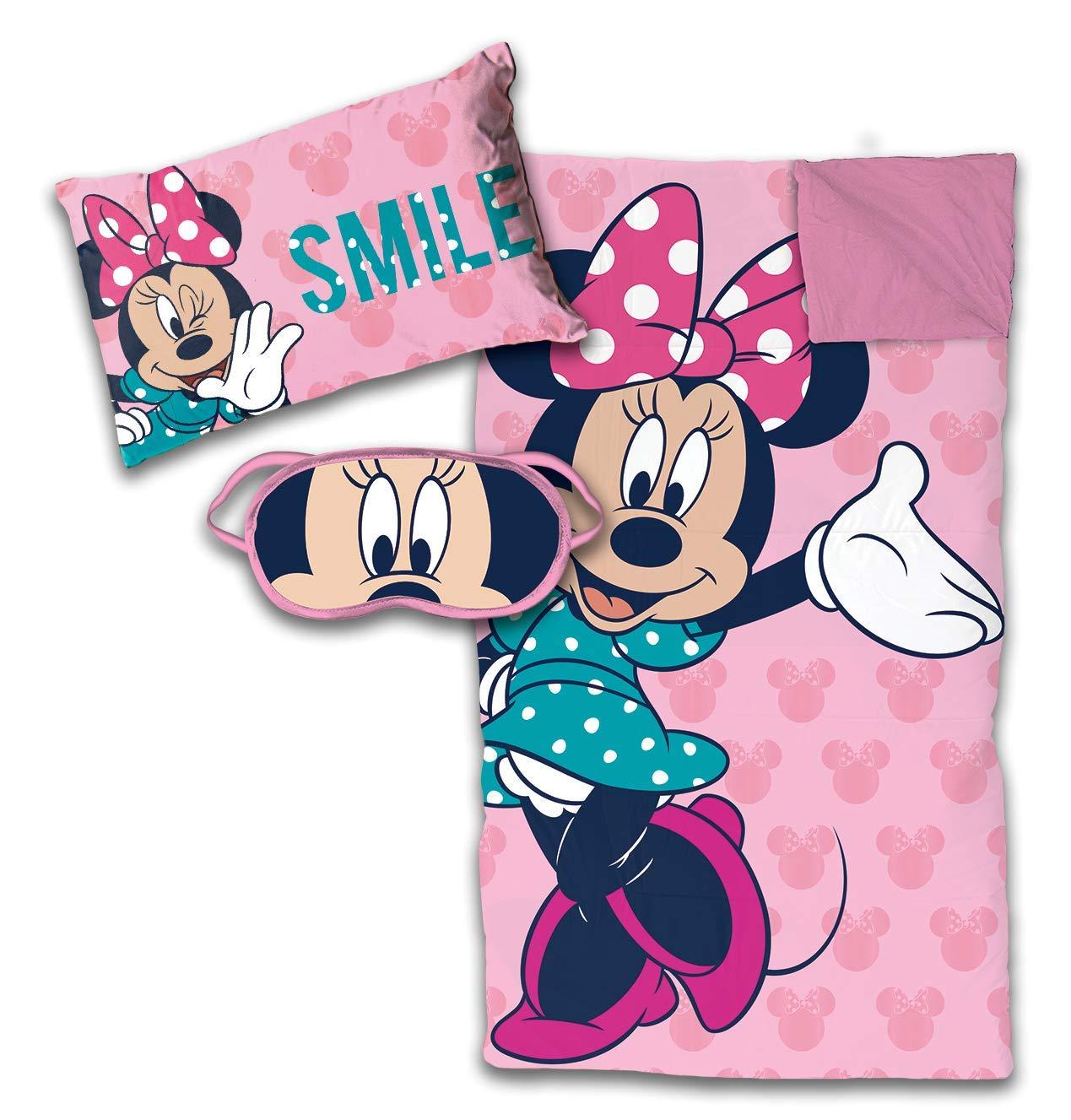 Jay Franco Disney Minnie Mouse 3 Piece Sleepover Set, Pink