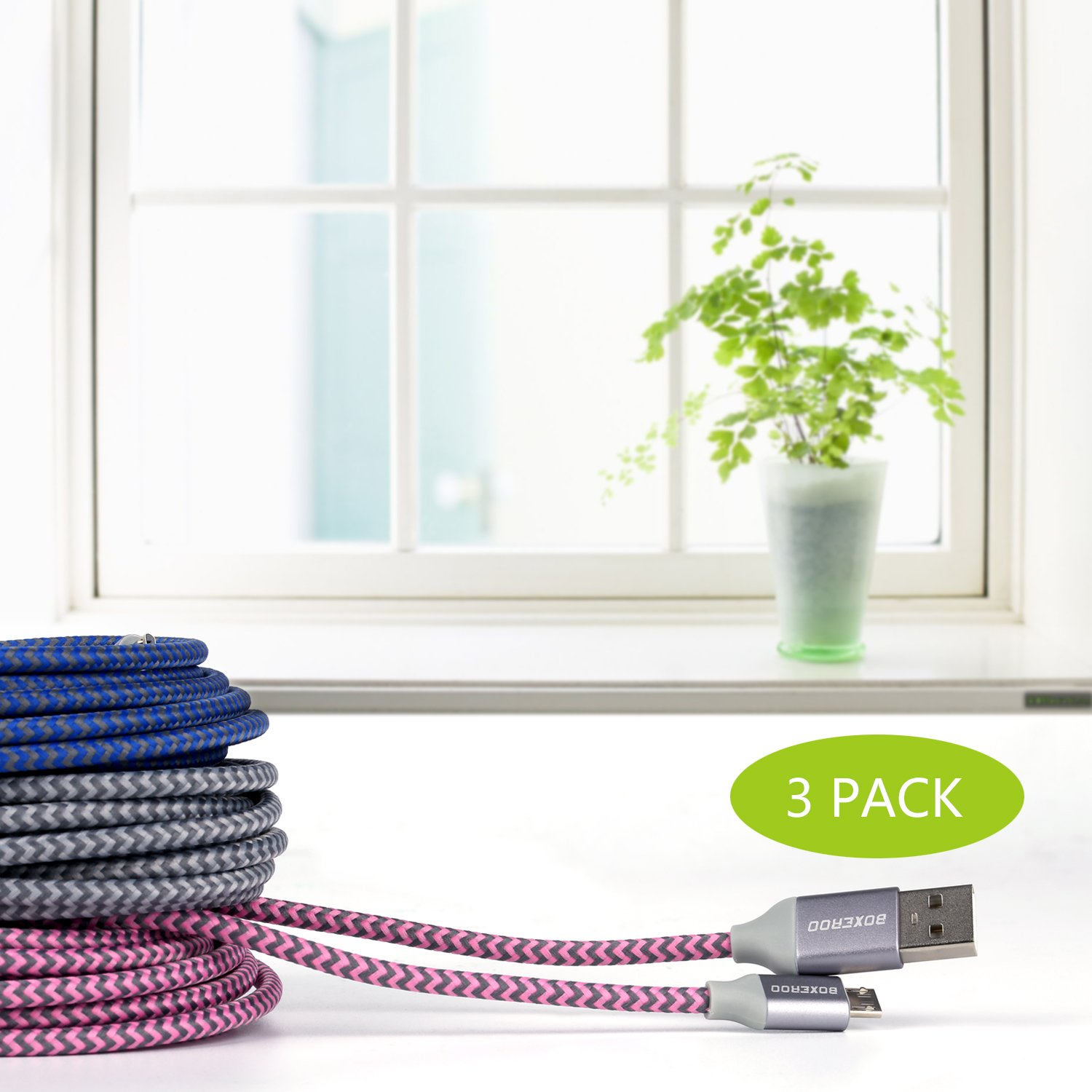 Boxeroo Micro USB Cable,3 Pack 10FT Long Nylon Braided High Speed 2.0 USB to Micro USB Charging Cables Android Fast Charger Cord Work for Samsung and More by Boxeroo (Image #6)