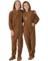 Footed Pajamas - Teddy Bear Kids Hoodie Chenille
