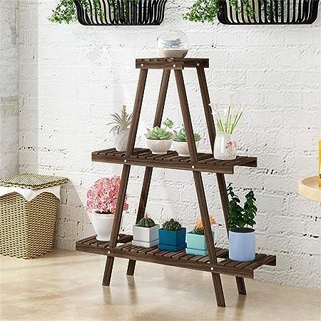 Soporte de plantas Escalera de 2 niveles al aire libre Estante de flores plegable de madera