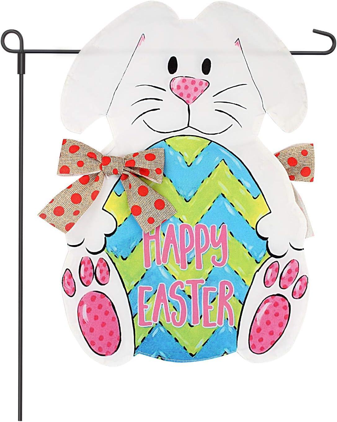 """Fun-Here Easter Bunny Eggs Garden Flag Double Sided Home Garden Outdoor Decorative 12"""" x 18"""""""