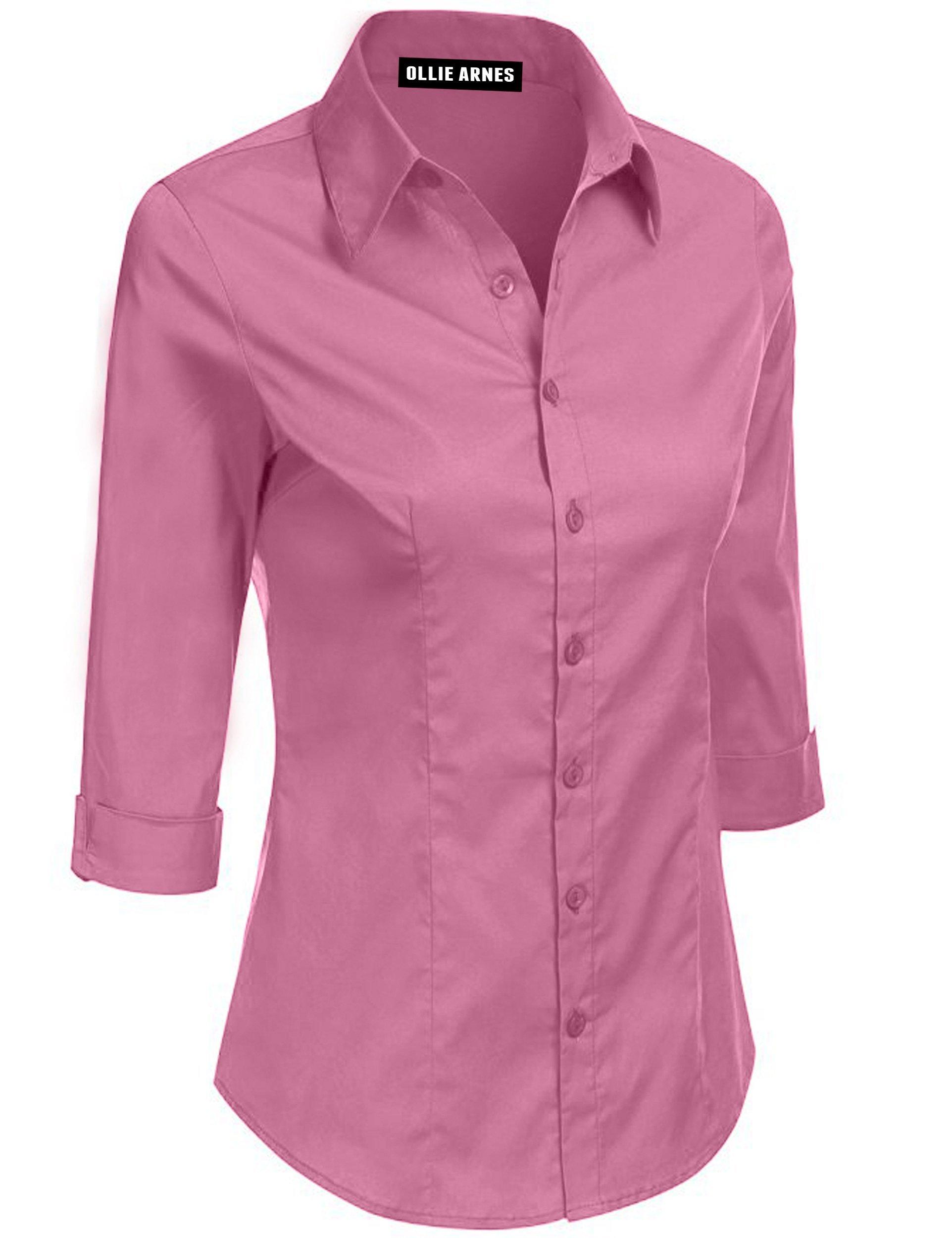 Ollie Arnes Womens Front Pocket Roll Up Sleeve Button Bown Chiffon Cotton Blouse 5A_DKMAUVE 1XL