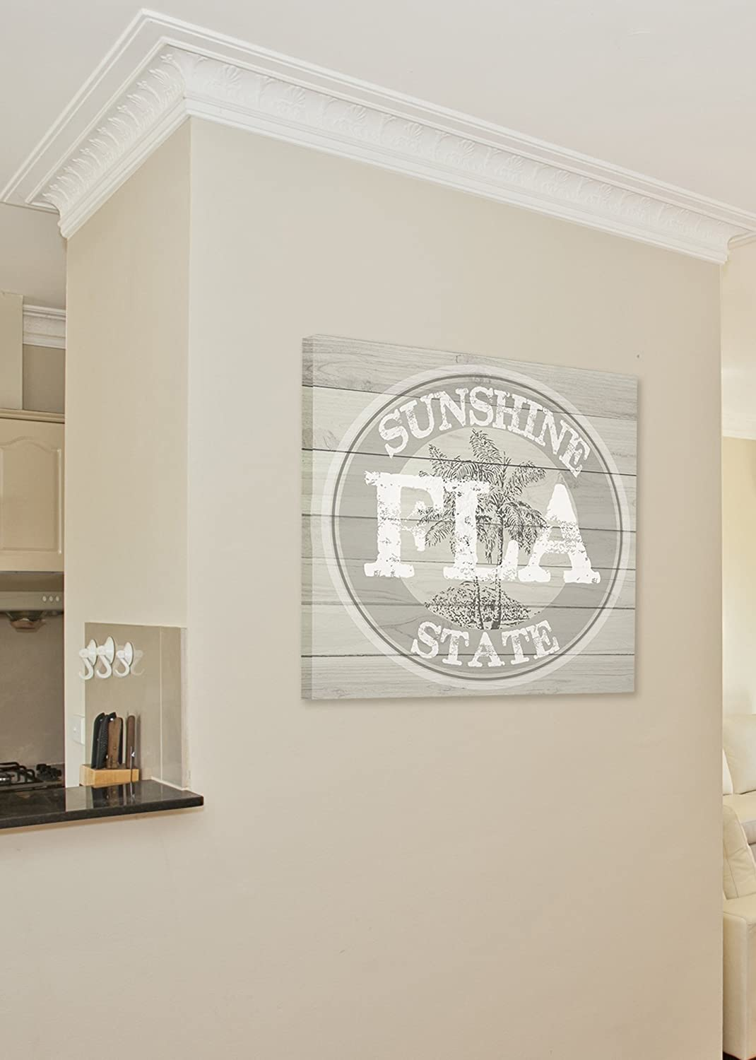 24 x 24 The Stupell Home D/écor Collection Florida Sunside State Medallion Stretched Canvas Wall Art