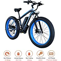 """KEANTY 26"""" Fat Tire Electric Bike, Shimano 21 Speed Beach Snow Mountain Bicycle with Removable 36V Large Capacity Lithium Battery and 350W Powerful Motor (US Stock)"""