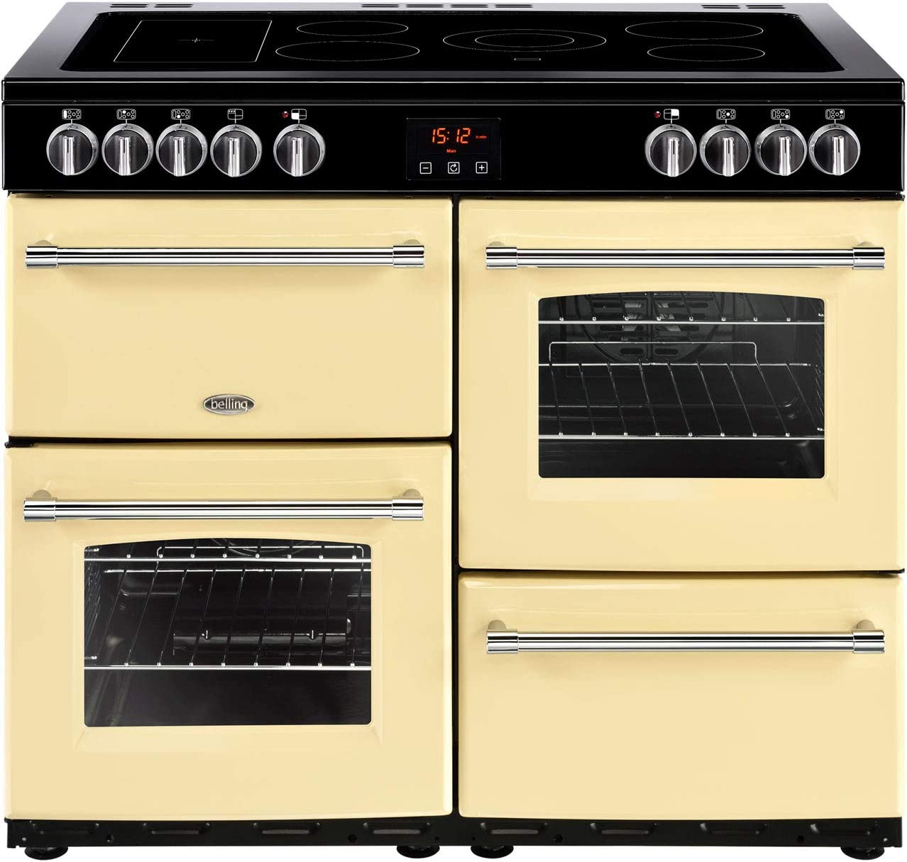 A A Rated Belling Farmhouse100e 100cm Electric Range Cooker With Ceramic Hob Cream Freestanding Ranges Large Appliances