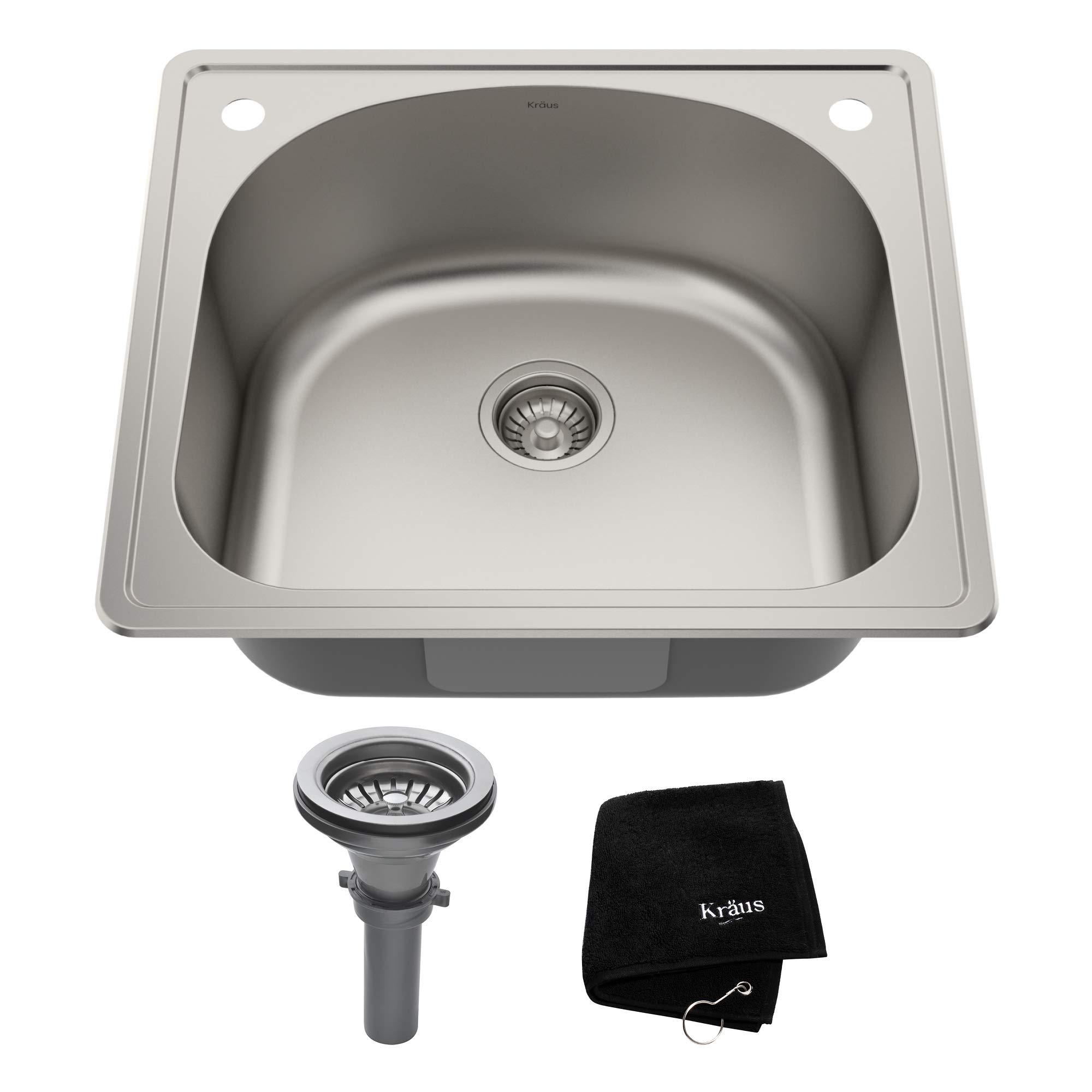 Kraus KTM24 25 inch Topmount Single Bowl 18 gauge Stainless Steel Kitchen Sink