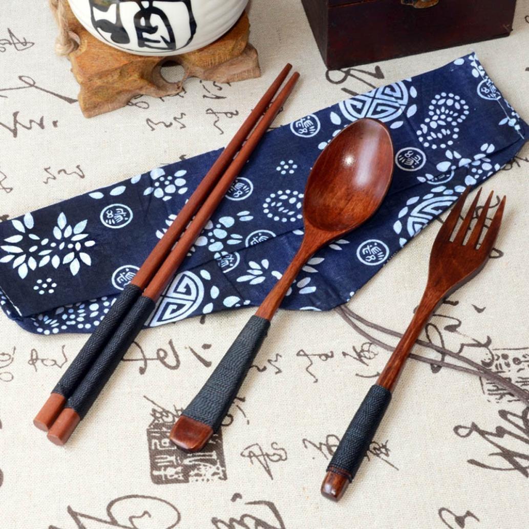 IGEMY Vintage Wooden Chopsticks Spoon Fork Tableware 3pcs Set New Gift Brown