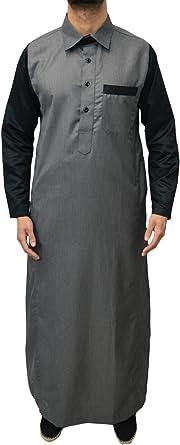 para Hombre Designer Etiqueta Jubba caftán Top dishdash Thobe Cuello Camisa Elegante árabe Vestido jabbah 4 Colores Gris Gris 4XL: Amazon.es: Ropa y accesorios