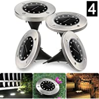 WeyTy Solar Garden Lights, 4 Pack 12LED Solar Ground Lights Outdoor Solar LED Pathway Lights, White Solar Landscape Lights for Lawn, Patio, Walkway, Driveway