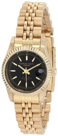 Charles-Hubert, París de la mujer 6635-gb Premium chapados en oro de colección reloj de acero inoxidable: Amazon.es: Relojes