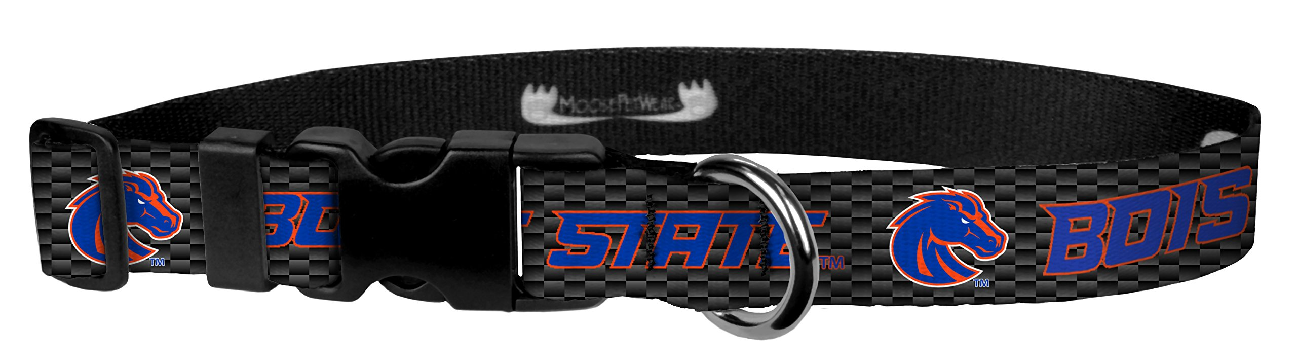 Moose Pet Wear Dog Collar - Boise State University Adjustable Pet Collars, Made in the USA - 3/4 Inch Wide, Small, Carbon Fiber