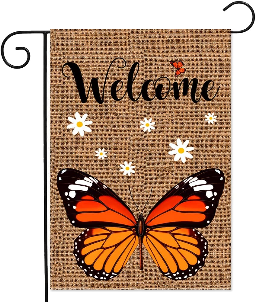 YMYIELD Welcome Burlap Monarch Butterfly Garden Flag, Vertical Double Sided Garden Outdoor Indoor Lawn Home Decor Yard Flags for Personalized Decor 12.5x18 Inch