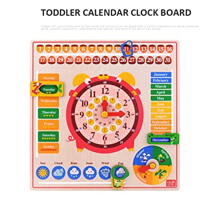iN. Children's Teaching Toys Clock Calendar Puzzle Kindergarten Boys and Girls Baby Time Puzzle Puzzle: Sports & Outdoors