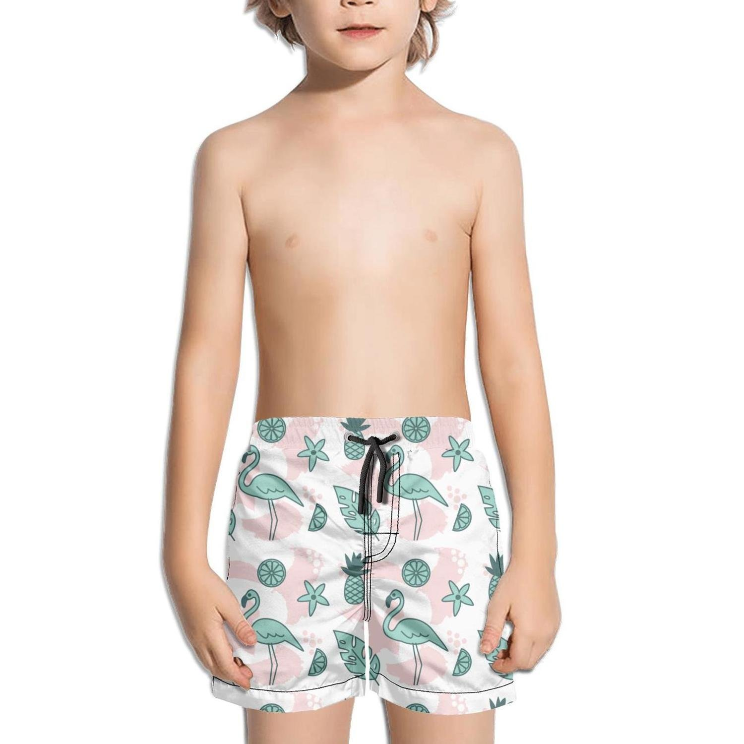 Lenard Hughes Boys Quick Dry Beach Shorts with Pockets Tropical Flamingo Pattern Swim Trunks for Summer
