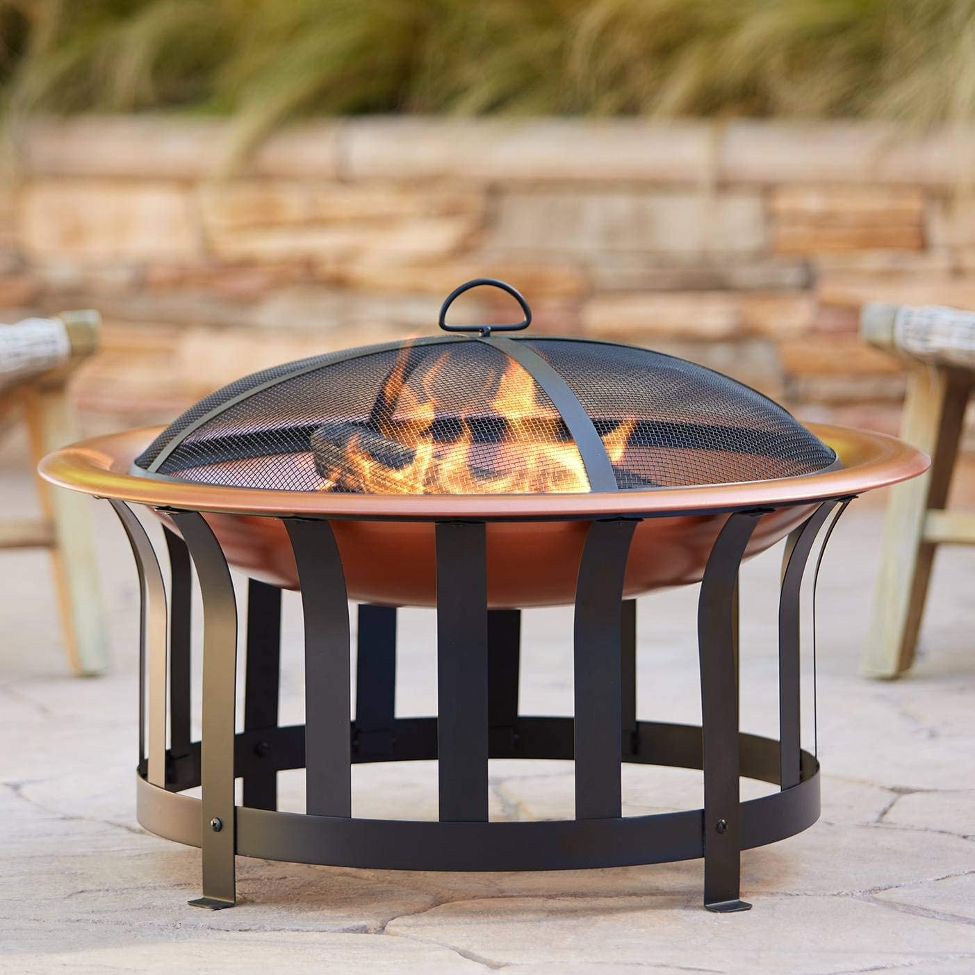 John Timberland Zurich Copper and Black Outdoor Fire Pit Round 30″ Steel Wood Burning