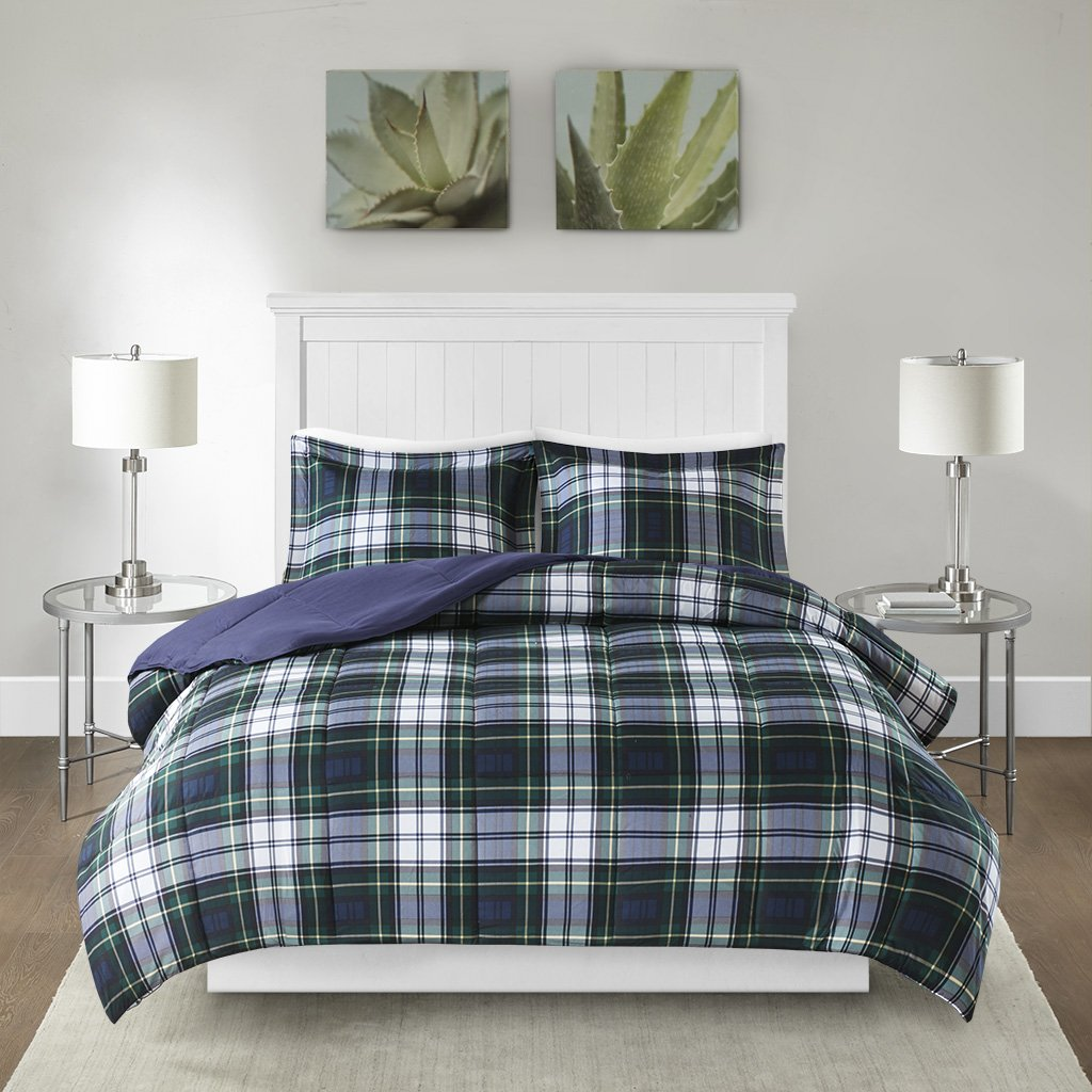 Madison Park Essentials Parkston Down Alternative Comforter Mini Set, Full/ Queen, Navy by Madison Park (Image #1)