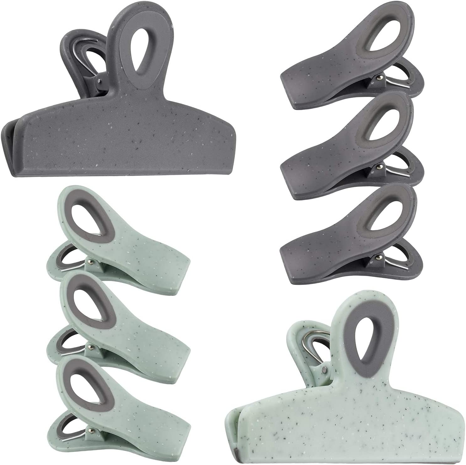 Cook with Color Set of Eight Bag Clips, 2 Large Heavy Duty Chip Clips and 6 Refrigerator Magnet Clips for Food Storage with Air Tight Seal Grip for Snack Bags and Food Bags (Speckled Gray & Teal)