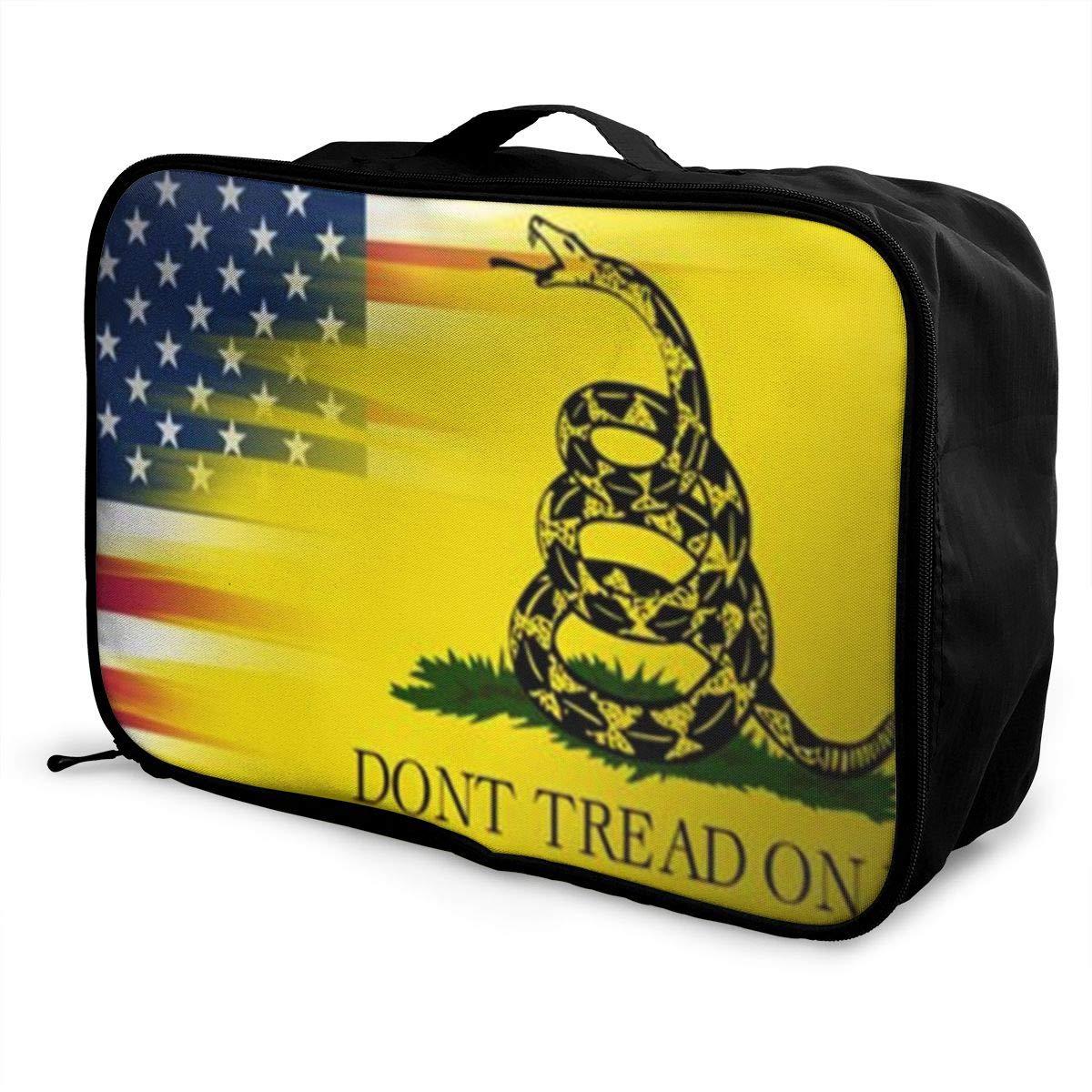 Unisex Travel Duffel Bag Waterproof Fashion Lightweight Large Capacity Portable Luggage Bag Dont Tread On Me American Flag