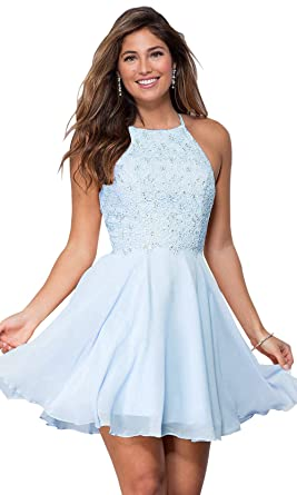 c34c2015d11 Women s Halter Spaghetti Strap Beaded Chiffon Lace Evening Gown Short Prom  Dresses Bady Blue Size 2