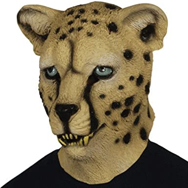 50bfeb63443e Amazon.com: OvedcRay Adult Leopard Latex Mask Cat Cheetah Jungle Zoo Animal  Costume Rubber Masks: Clothing