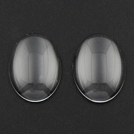 5 Glascabochons Cabochons 18 mm Glas klar rund transparent 19
