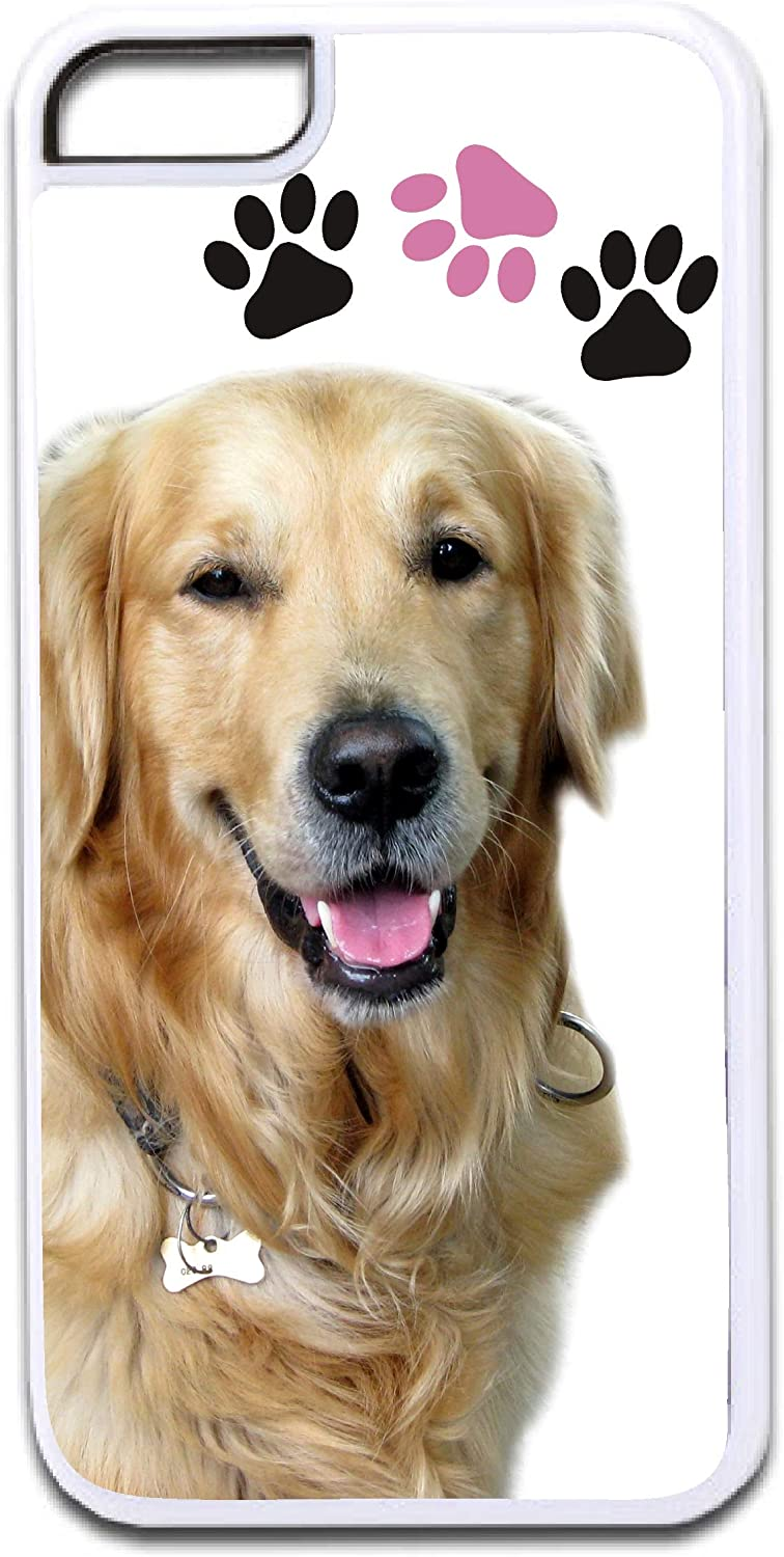 Golden Retriever Dog and Pawprints Design White Rubber Case for The Apple iPhone 7 / iPhone 8 - iPhone 7 Accessories - iPhone 8 Accessories