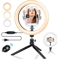 "TERSELY 10"" LED Ring Light with Tripod Stand, Dimmable 3 Light Modes & 10 Brightness Selfie Desk Makeup Light with Cell…"