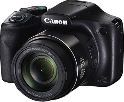 Canon PowerShot SX540HS 20.3MP Digital Camera with 50x Optical Zoom (Black) + Memory Card + Camera Case Point & Shoot Digital Cameras at amazon