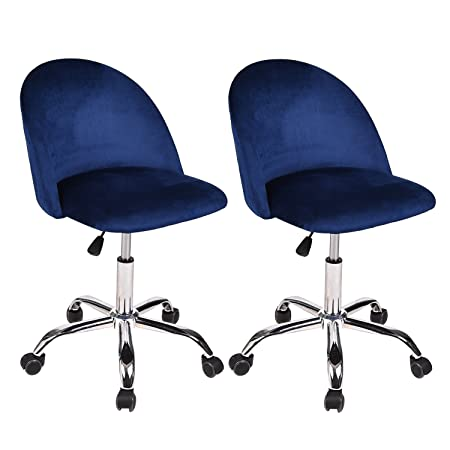 Set of 2 Mid Back Swivel Adjustable Home Office Chair Modern Accent Velvet Fabric Computer Desk Chair with Soft Velvet Seat 5 Wheels,Navy Blue
