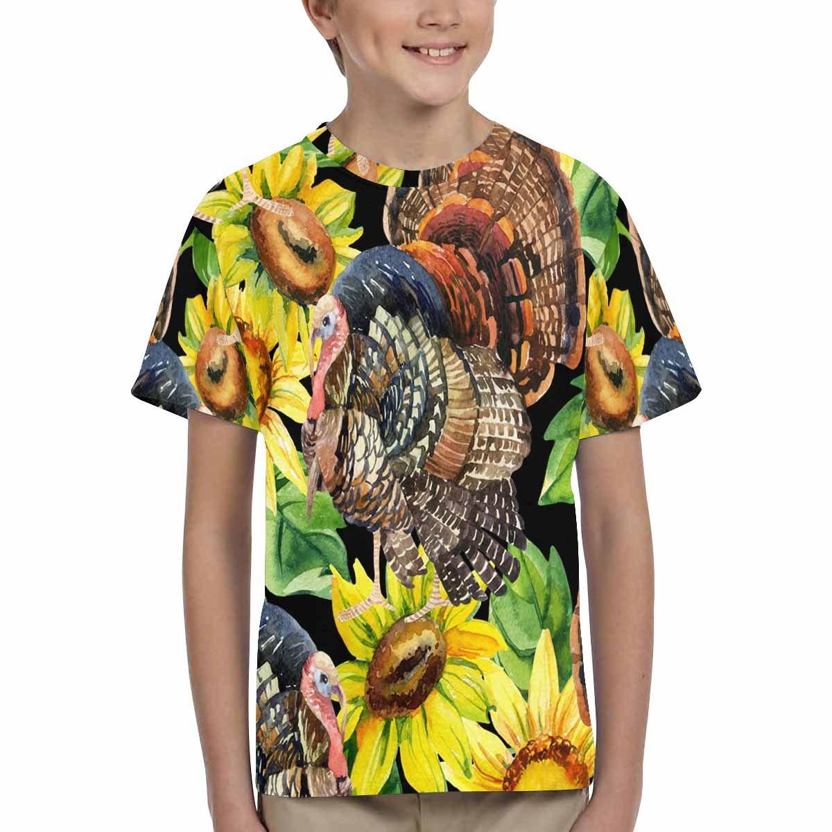 INTERESTPRINT Childs T-Shirt Turkey Bird with Sunflowers XS-XL