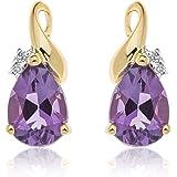 Ornami Glamour 9CT White Gold Diamond Set Teardrop Blue Topaz Stud Earrings