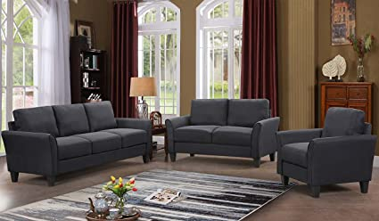 Harper&Bright Designs 3 Piece Sofa Loveseat Chair Sectional Sofa Set Living  Room Furniture Living Room Sofa (Black)