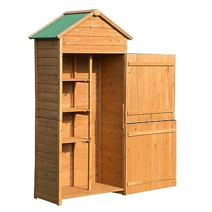 Outsunny Caseta de Jardín Exterior Tipo Cobertizo de Madera y Armario Exterior de Almacenamiento para Herramientas
