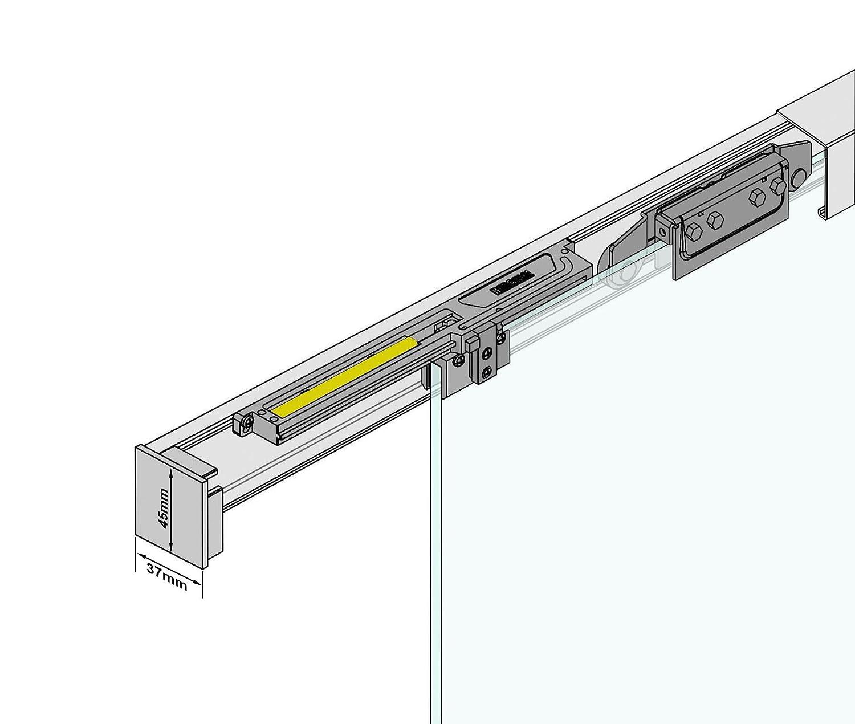 900 x 2175 mm, Soft-Close Selbsteinzug Slimline Alu-Schinensystem mit Griffmuschel Schiebet/ürsystem ESG Dekor Satiniert mit klare Streifen P1-Alu mit 30mm Wandabstand